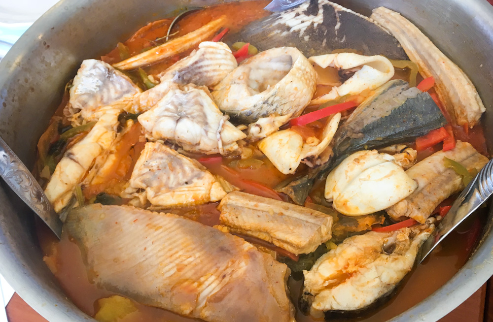 Caldeirada de Peixe at Mare in Ilhavo. This is the ultimate Portuguese few stew and traditional fishermen's food, consisting of the catch of the day cooked with potatoes and other vegetables to infuse flavor.