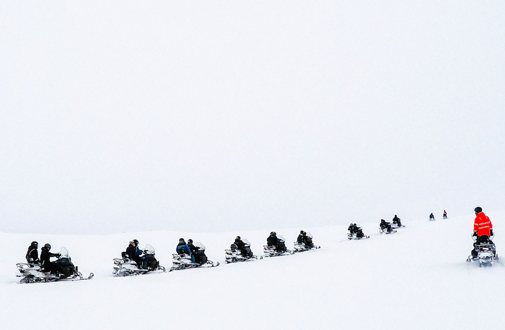 Snowmobiling around Langjokull glacier