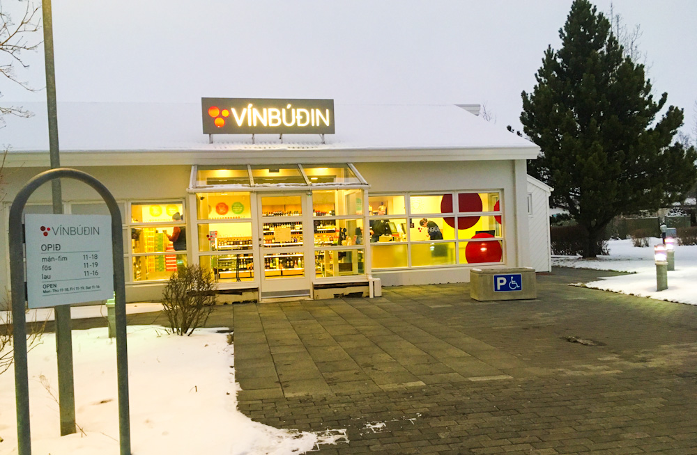 Vínbúðin store and a tree. Both are rare in Iceland.