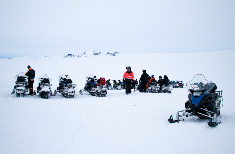 The snowmobile tour starts with a quick briefing