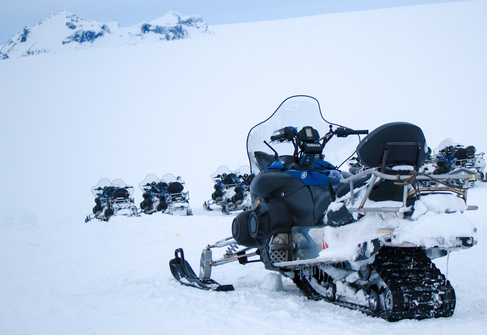 Snowmobiles used by the Mountaineers of Iceland