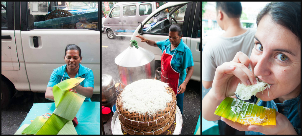 Eating Putu Mayam in Penang