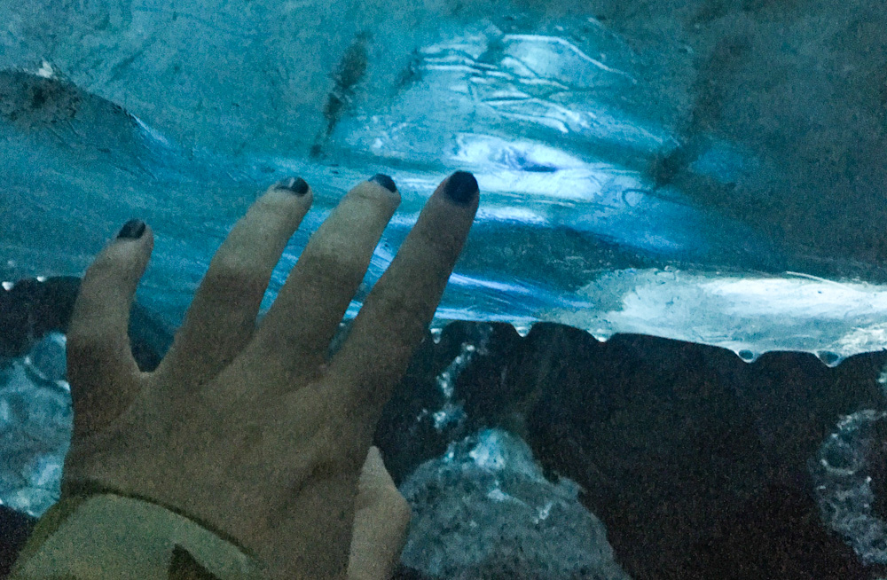 Appreciating how the light managed to penetrate into the ice cave
