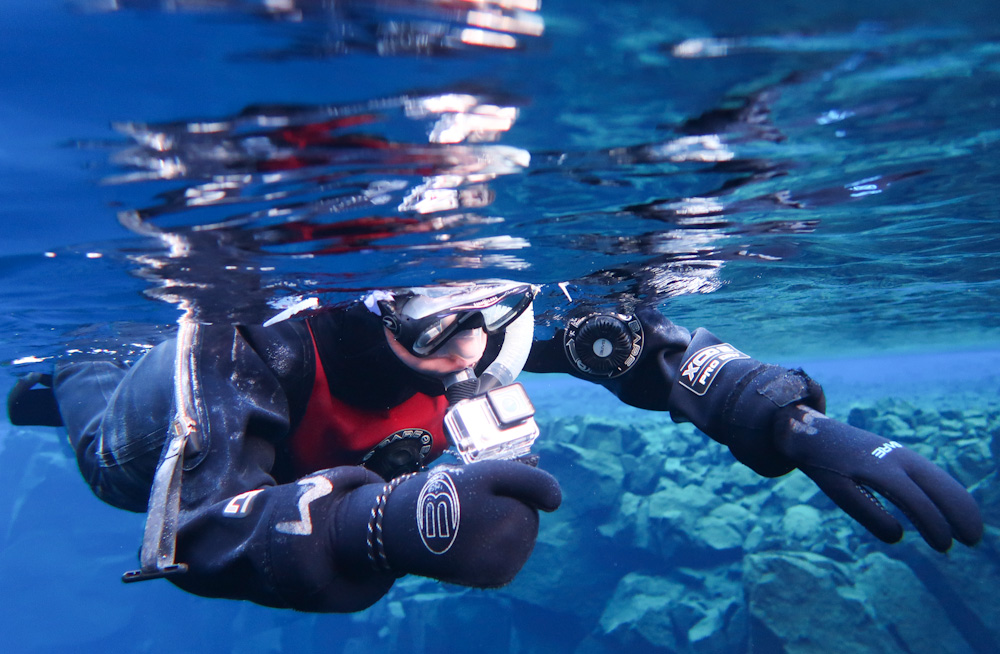 Filming underwater in Silfra
