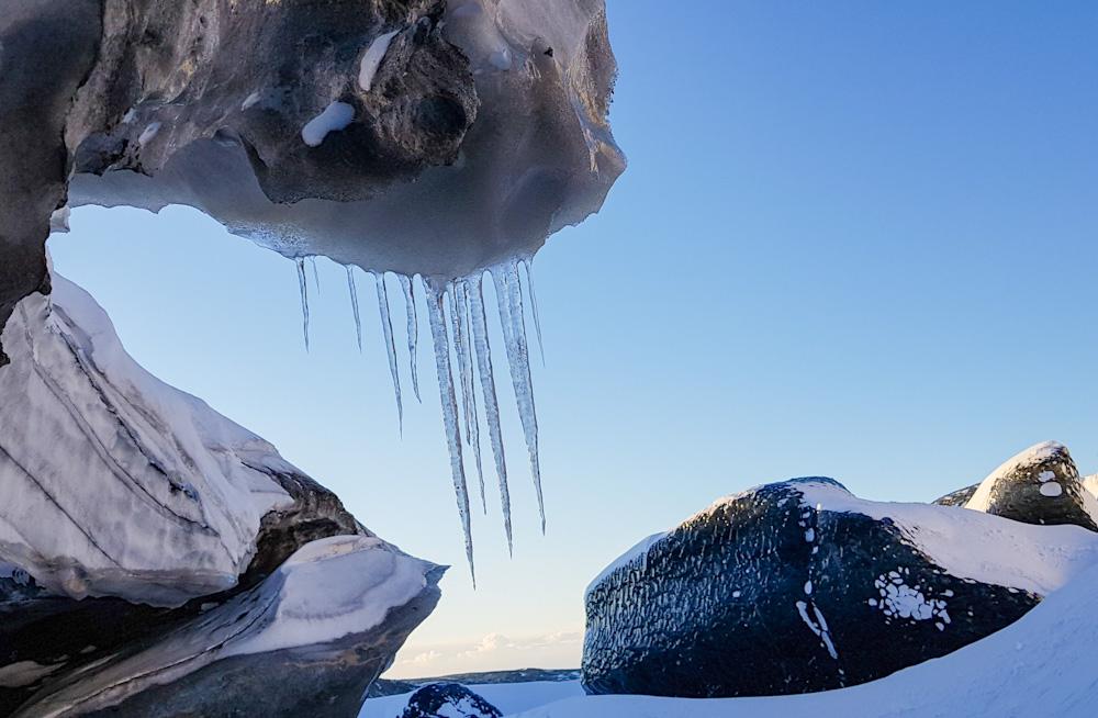 Black ice on the surface of Vatnajökull Glacier