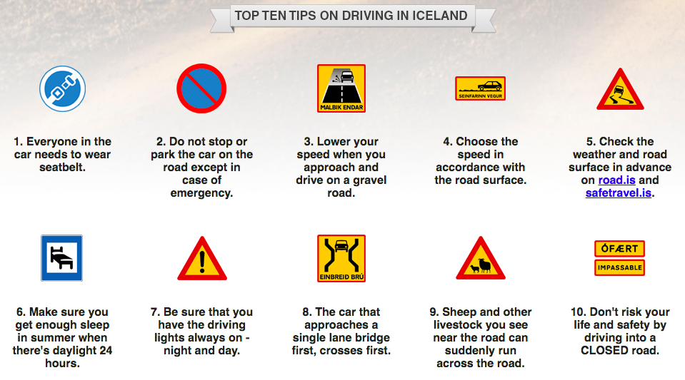Top 10 tips for driving in Iceland, by drive.is - recommended by road.is