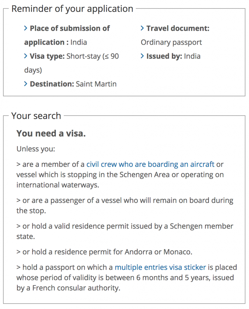 Saint Martin Visa rules for Indians