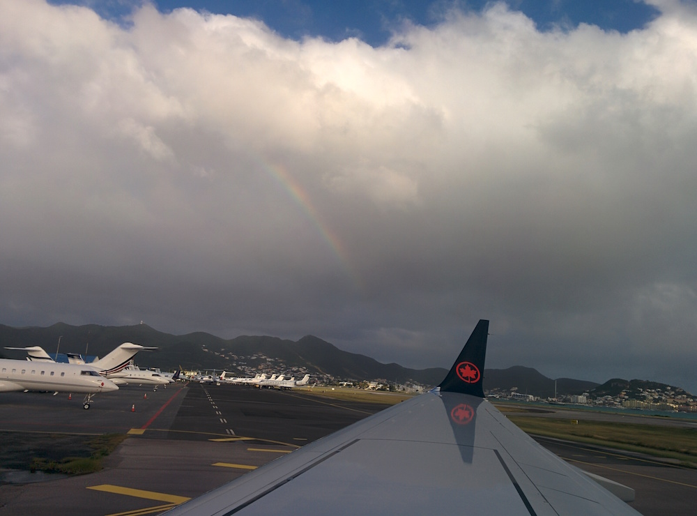 Landing at SXM airport with a rainbow